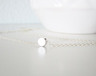 Tiny silver dot necklace on sterling silver chain, delicate modern jewelry
