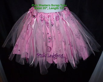Scrap Rag Western Tutu - Pink and Black is Ready to Ship