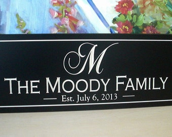 "Personalized Name Sign great wedding gift idea Carved 8"" tall Personalized Family Name Sign Wedding Gift"