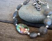 CLEARANCE SALE - Labradorite Pearl and Abalone Bracelet. Ocean Nautical Seahorse Charm Bracelet . Winter Gray Mist . Smells Like Rain .