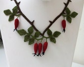 Wild Red Rose Hip  Necklace,Red Necklace,Wild Berry Necklace, Burgundary Necklace,Statement Necklace,Fruit Necklace,
