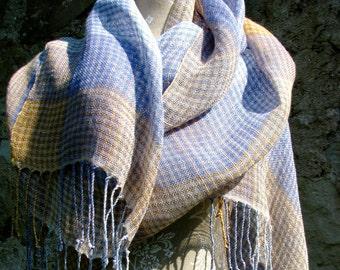 Handwoven Linen Flax  Scarf (Shawl)- Pastel Tartan- Light, Peach, Amber, Blue, Lavender