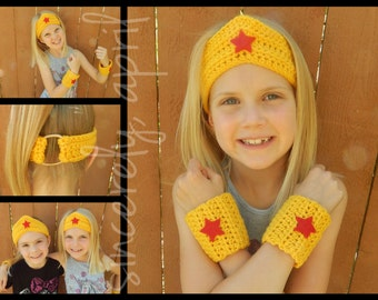 Crochet Wonder Woman Crown and Cuff Set