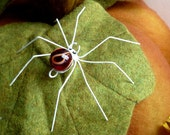 One Small Red and White Marble Spider Copper Wire Spider Wire Art Perfect Gift for Entomologists and Bug Lovers