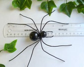 Large Black Spider Wire Art Bug Unique Ornament  or Wall Hanging Pet Spider for Spider Lovers Computer Desk Pet Web Crawler Unusual Gift