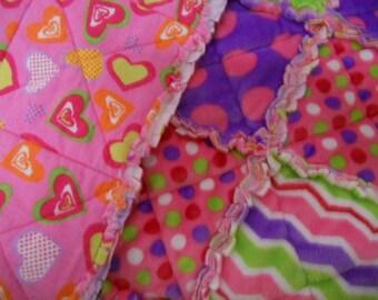 Baby Quilt, Rag Quilt, Polk Dots, Chevron, Hearts