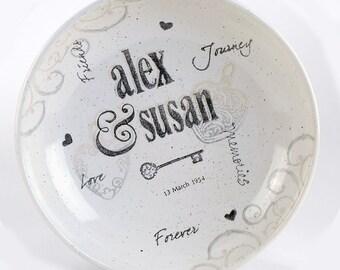 Personalized Wedding Pottery Bowl, Couple's Name Bowl, Ceramic Bowl Personalized w/Couple's Names, Bride & Bridal Shower, Name Wedding Gift