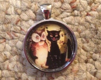 Halloween Kitty & Owl Pendant Necklace-FREE SHIPPING-