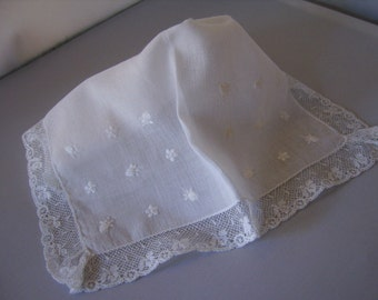 Vintage Square White Cotton Embroidery Floral Lace Handkerchief-Wedding Bride Shower Mother