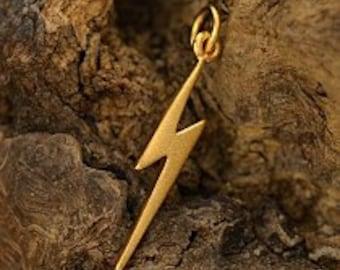 24K Gold Plated Lightning Bolt Charm - Electricity, Celestial, Storms, Rain, Thunder, Power, Strength, CG1153