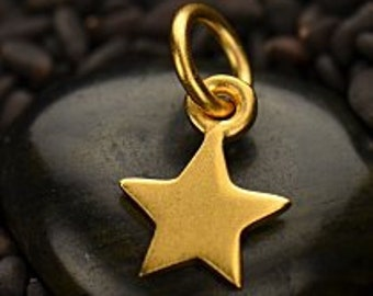 24K Gold Plated Small Star Charm - Celestial Charms, Tiny Star