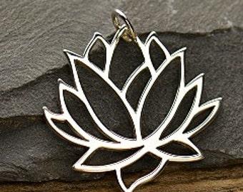 Lotus Flower Pendant - C477, Sterling Silver, Flowers, Yoga, Woodlands, Zen