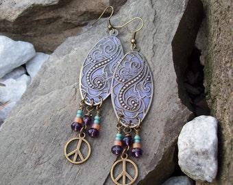 Bohemian Hippie Long Patina Earrings - Lilac Purple Earrings - Metal Dangle - Peace Charm Earrings - Tribal Hippie Earrings