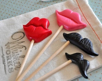 Miniature Mustaches and Lips Props - Set of 4