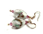 White with pastel pink and green earrings with gold dust, rare vintage lampwork glass beads with Swarovski rose pink crystals