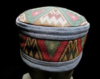 Hat Blue Jean Denim Gypsy Red Turquoise Southwest Hat Kufi Cap Men Women Unisex Gypsy Boho Hippie