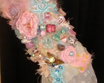 Rose Garden Cuff Heavily Beaded Pastel Marie Antoinette Style