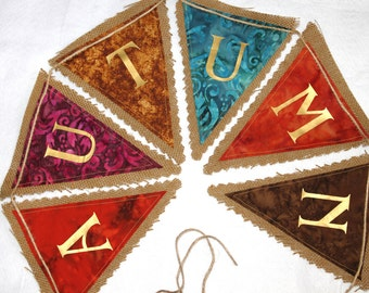 Burlap Bunting - Autumn in Jewel Tones