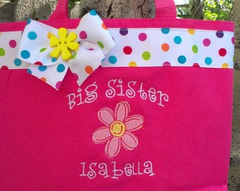 Big Sister bag with pink flower - Personalized at NO additional charge!