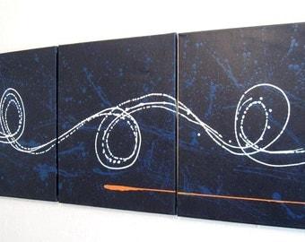 "triptych huge wall art  wall hanging ""Big Blue"" 48 x 20 "" huge canvas art 3 panel wall art three panel wall decor home decor"