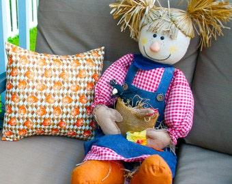 Decorative Fall Pumpkin Halloween Pillow, Toss Pillow, Accent Pillow, Pillow cover, Throw Pillow, Pillowcase - Fits 14x14 inch form
