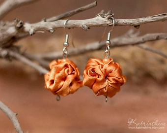 Orange  fabric bead Earrings, ruffled textile earrings, fabric jewelry, textile jewelry, dangle earrings, Unique Gift for Her
