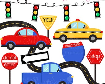 On The Road Cute Digital Clipart - Commercial Use OK - Car Clipart, Taxi, Road Signs Graphics