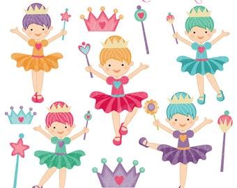 Little Dreamers Cute Digital Clipart - Commercial Use OK - Ballerina Clipart - Fairy Clipart - Girls with Wands - Ballerina, Fairy Graphics