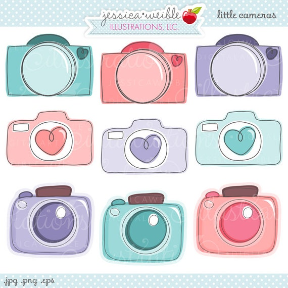 Little Cameras Cute Hand Drawn Digital Clipart Commercial