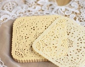 30 Square Lace Paper Doilies - Yellow (3.9 x 3.8in)