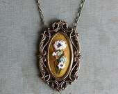 White Snakeroot- hand embroidered necklace, bouquet, white, mustard yellow, wildflowers, floral