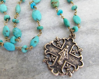 Catholic Mary Necklace with Gold Vermeil Wire Wrapped Turquoise and French Bronze Medal