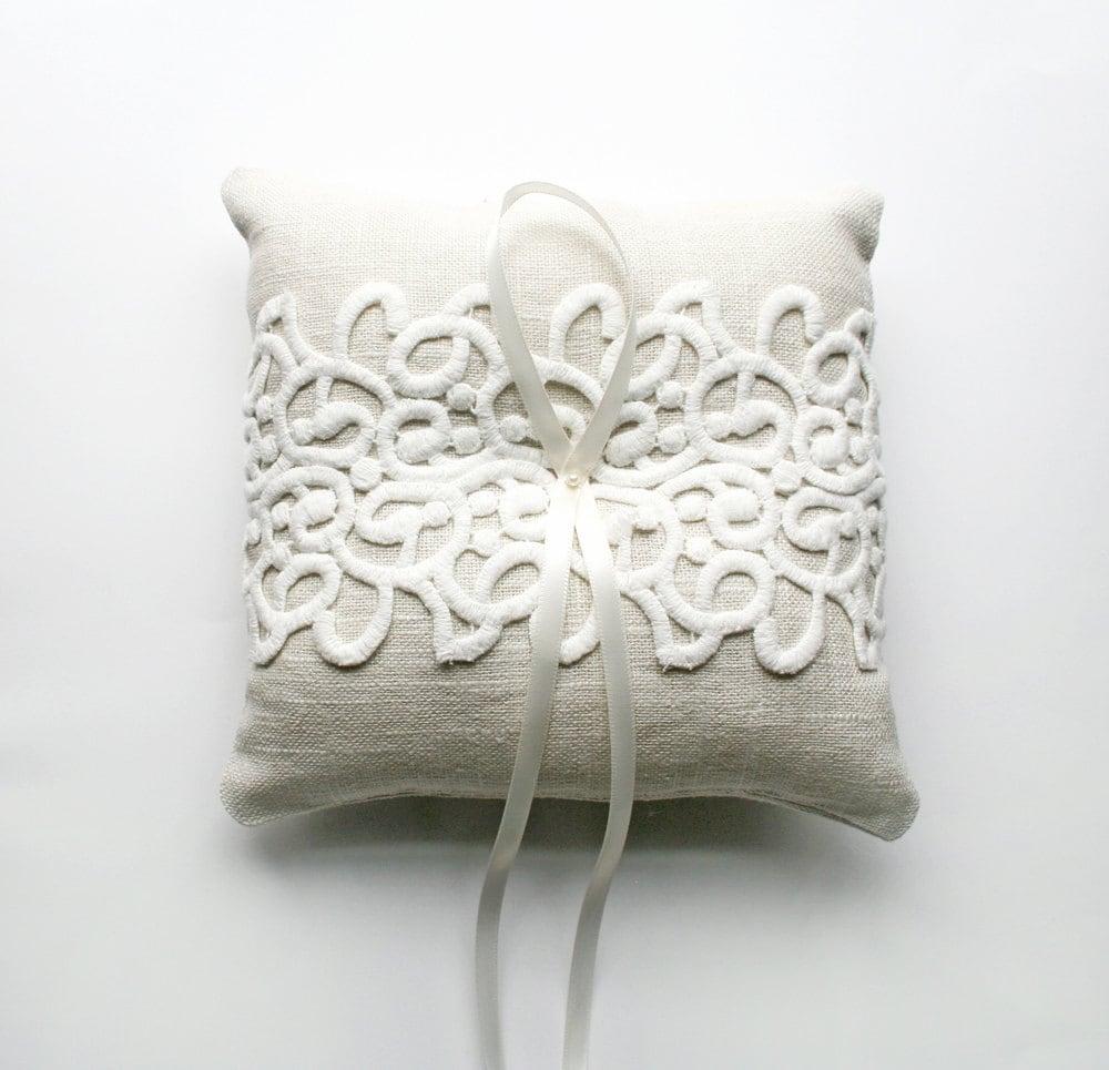 rustic ring pillow ring bearer pillow wedding lace pillow