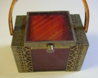 Vintage Tortoise Shell Lucite Purse  with Brass  Filigree