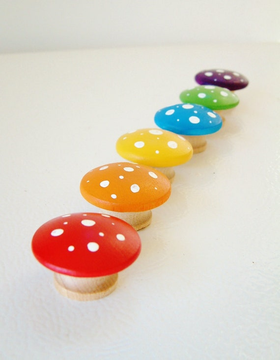 Rainbow Mushrooms - Set Of 6 Wooden Toadstools p- Stocking Stuffer - Christmas Gift