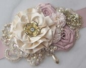Blush Pink Bridal Sash, Champagne Ivory and Gold, Wedding Belt with Vintage Gold Flowers, Rhinestones and Pearls - CAROUSEL