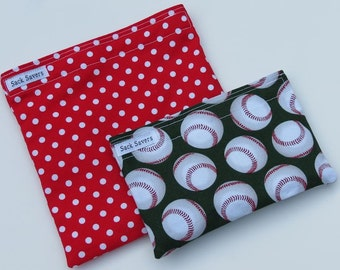 Reusable Sandwich and Snack Bag Set Eco Friendly Baseball and Red Polka Dots