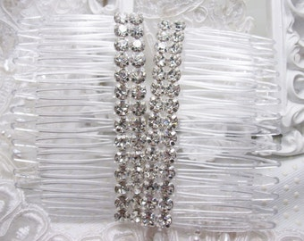 Double Row Rhodium plated Swarovski Crystal elements Handmade Hair comb Fascinator pair hand made