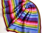Crochet in Technicolor - Linen Baby Blanket - Third in a Series of Four - Looks Like Linen - Easy Crochet Pattern