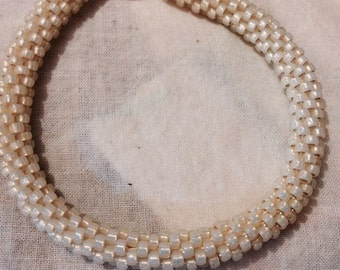 Beaded Bracelet with pale yellow beads