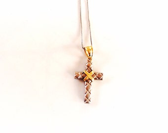 REDUCED Vintage 14K gold cross necklace crucifix white and yellow gold