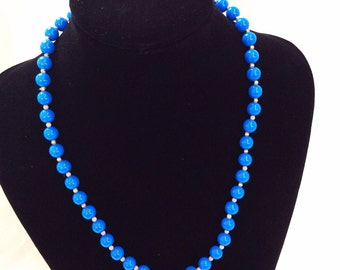 Bright blue necklace beaded retro jewelry vintage necklace plastic blue beads