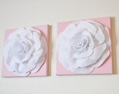 "Girl Nursery White Roses on Light Pink 12 x12"" Canvases Wall Art- Baby Nursery Wall Decor-TWO Wall Hangings"