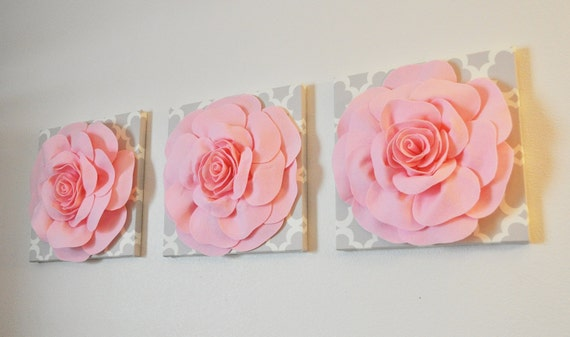 Trio Wall Hanging Light Pink Rose On Neutral Gray By Bedbuggs