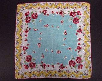 Vintage Handkerchief  Burgundy floral (vh112)