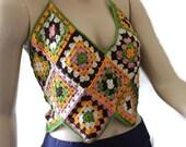 Handmade Granny Crocheted Halter - Multicolor Tank