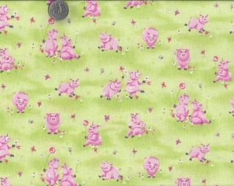 Flip the Pig I Spy Pigs in the Flower Meadow Butterfly Fabric  By the Fat Quarter  BTFQ