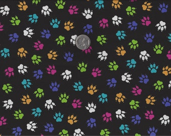 Paw Prints Big Cats I Spy Cat Dog Fabric By the Fat Quarter Brite or Neutral
