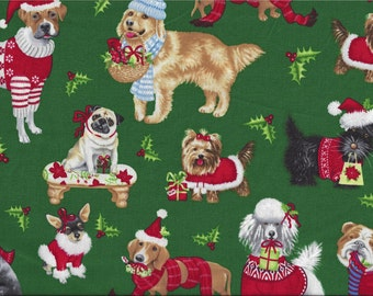 All Breed Dog Christmas Sweaters Hats I Spy Doxie Pug Lab Poodle Yorkie Scottie Boxer By the Fat Quarter BTFQ