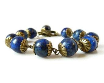 Indigo Lapis Bracelet Lapis Lazuli Bracelet Dark Blue Bracelet Cobalt Stone Bracelet Navy Beaded Gemstone Antique Brass Link Birthstone Gift